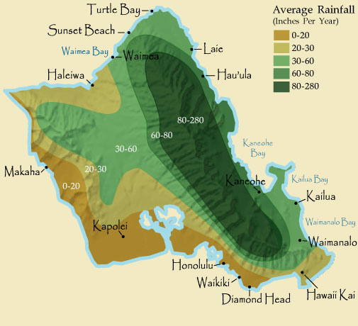 Oahu Rainfall Map