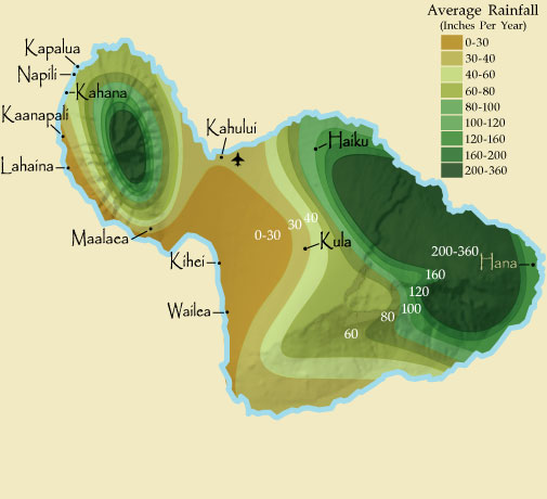 Maui Rainfall Map