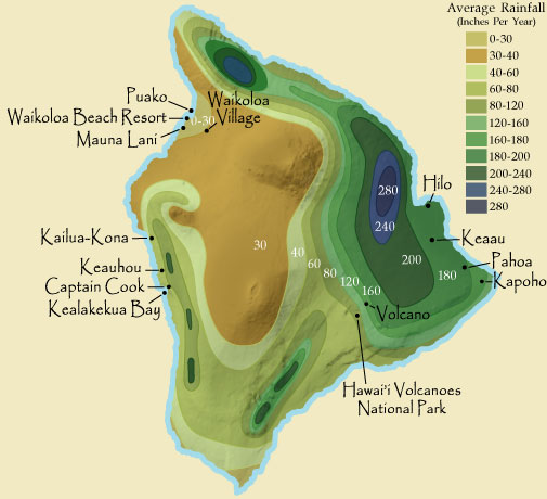 Hawaii Big Island Rainfall Map