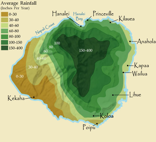 Kauai Rainfall Map