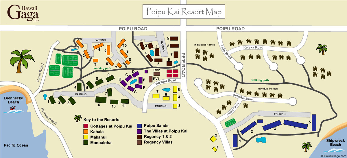 Kauai Beach Villas Resort Map The Best Beaches In World